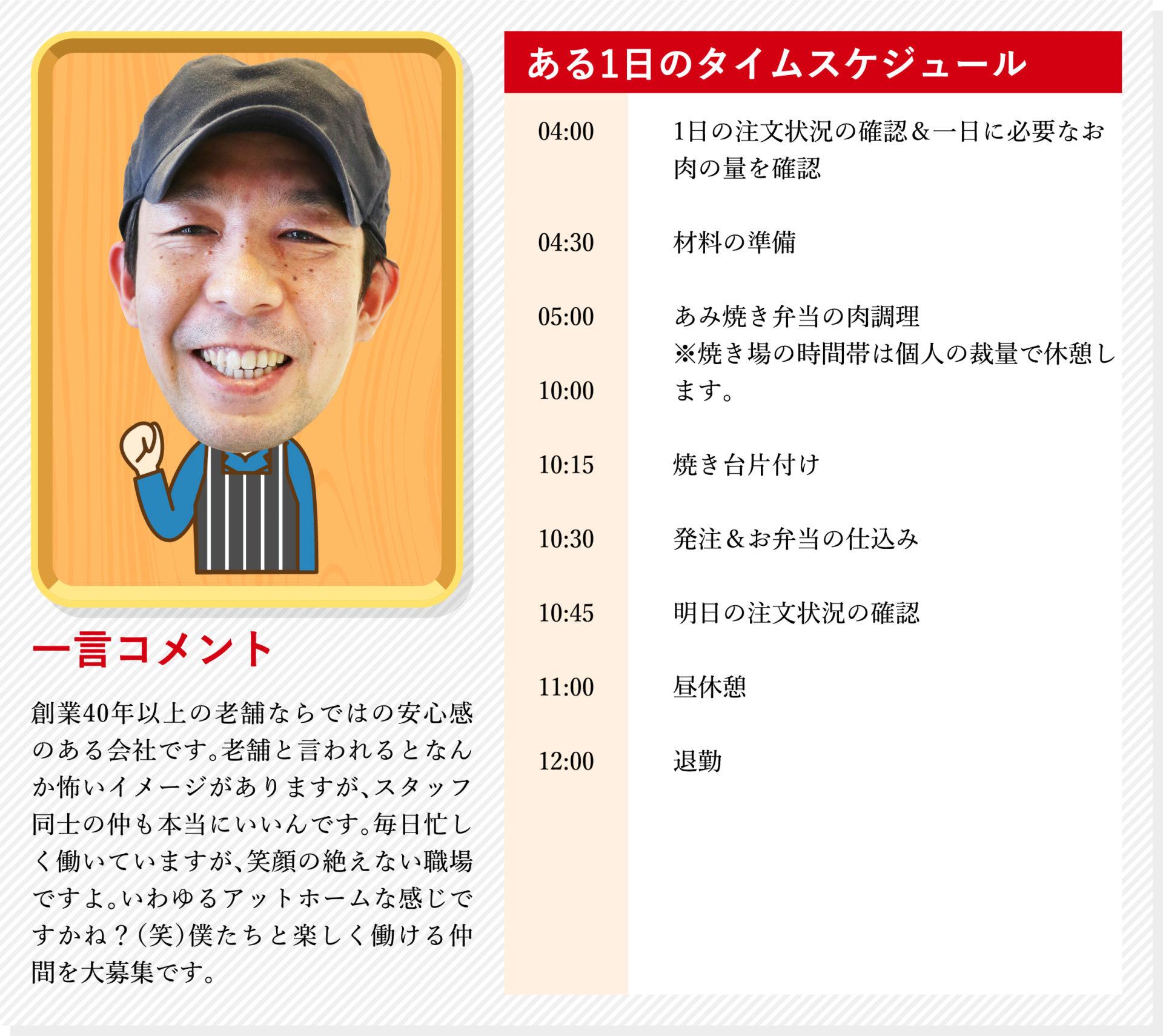 あみ焼き担当伊藤賢一のスケジュール